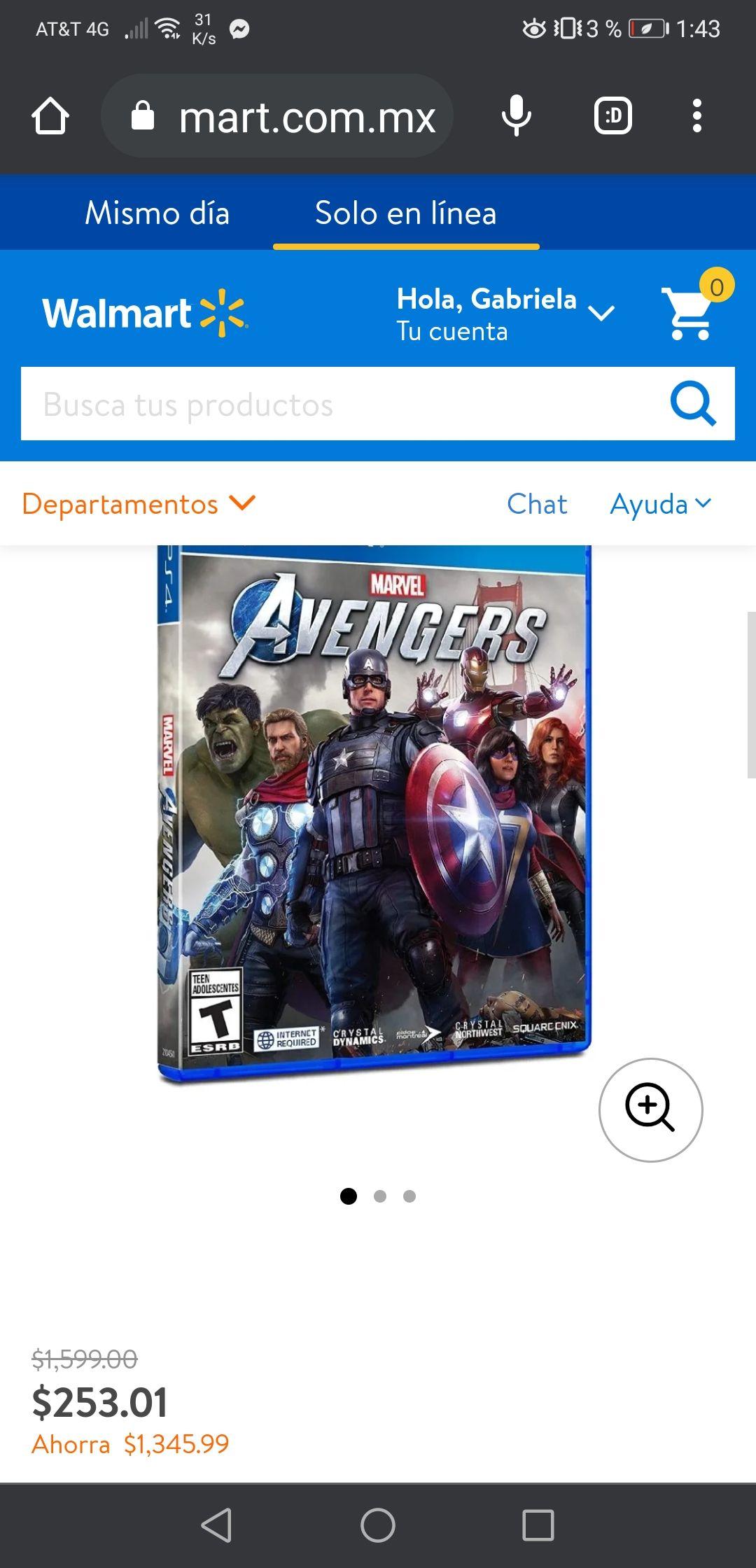 Walmart: Ps4 en liquidación Avengers