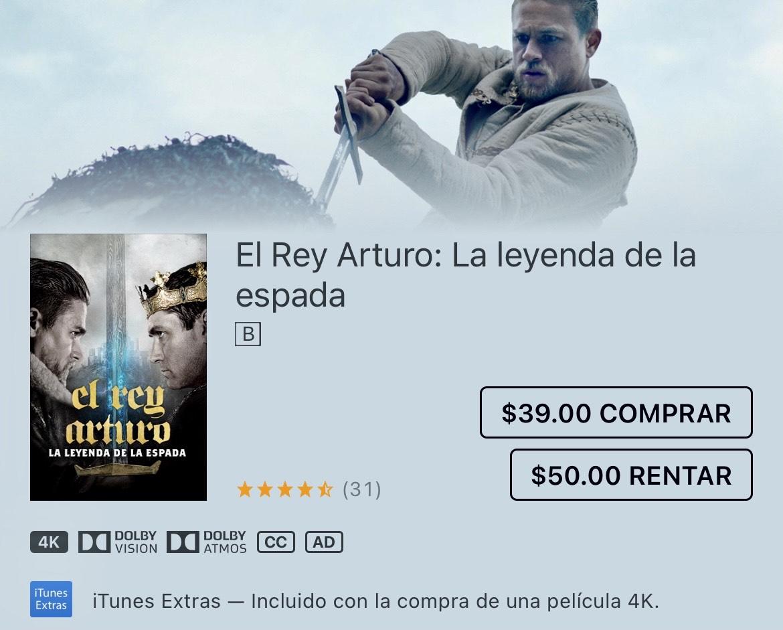 iTunes, El Rey Arturo: La leyenda de la espada por Guy Ritchie 4K DOLBY VISION