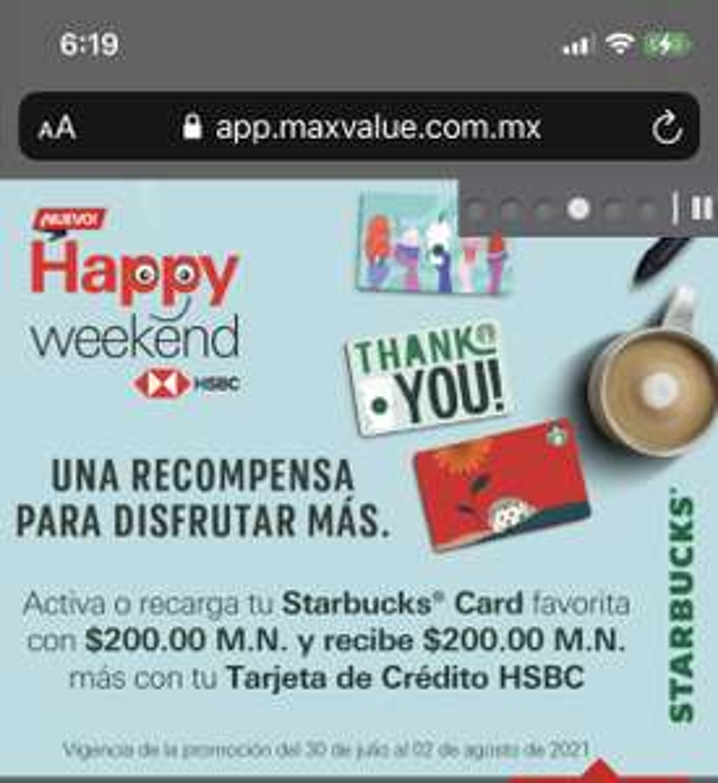 Starbucks, Recarga 200 y obtén 400 con tarjetas HSBC