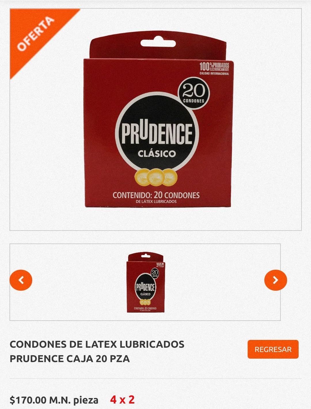 La Comer: Preservativos 4x2 (80 condones Prudence en $340)