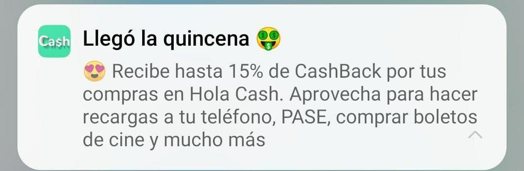 Hola Cash: Hasta el 15% de cashback