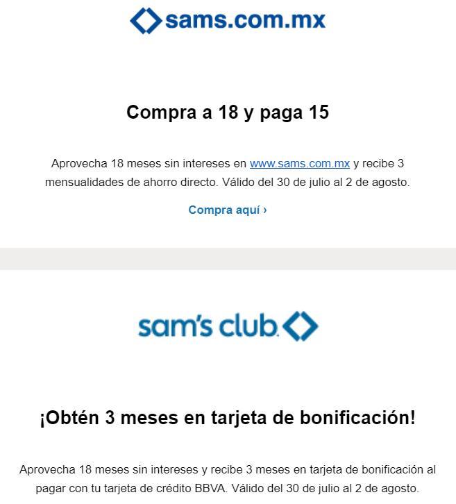 BBVA + Sam´s Club: Compra a 18 meses sin intereses y obtén 3 mensualidades de ahorro directo