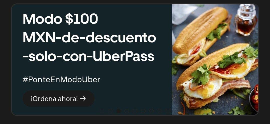 Uber Eats: $100 de descuento gastando $150 (Solo miembros Uber Pass)