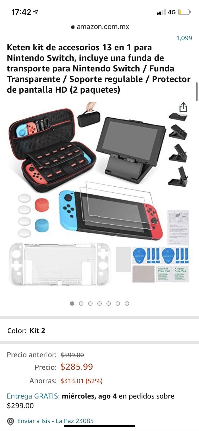 Amazon: Kit de accesorios para Nintendo Switch