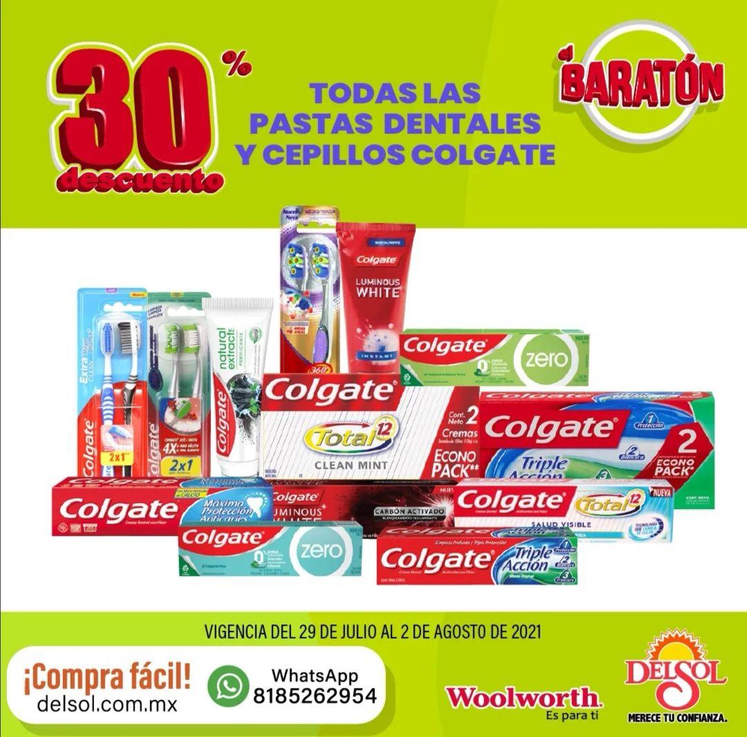 Del Sol y Woolworth: 30% de descuento en todas las pastas dentales y cepillos Colgate