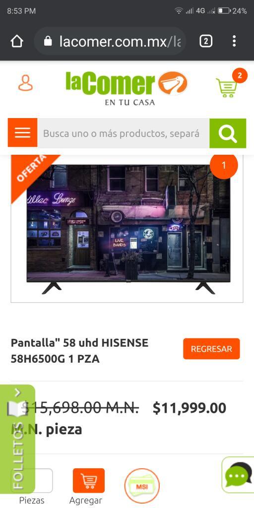 "La comer: $7814 Hisense 58"" smart tv 4k UHD con audifonos"