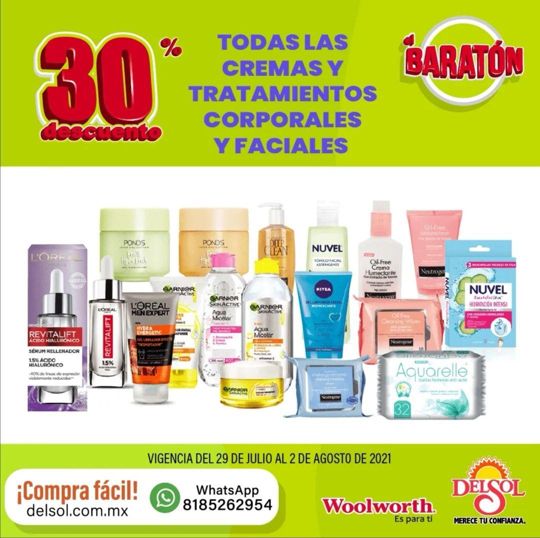 Del Sol y Woolworth: 30% de descuento en todas las cremas y tratamientos corporales y faciales