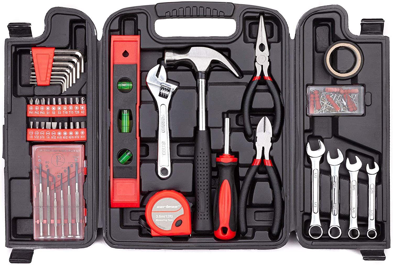 Amazon: Juego de herramientas de 136 piezas para uso doméstico general con caja de herramientas de plástico