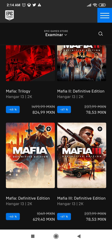 Epic Games: Juegos Mafia 2 y 3 para PC