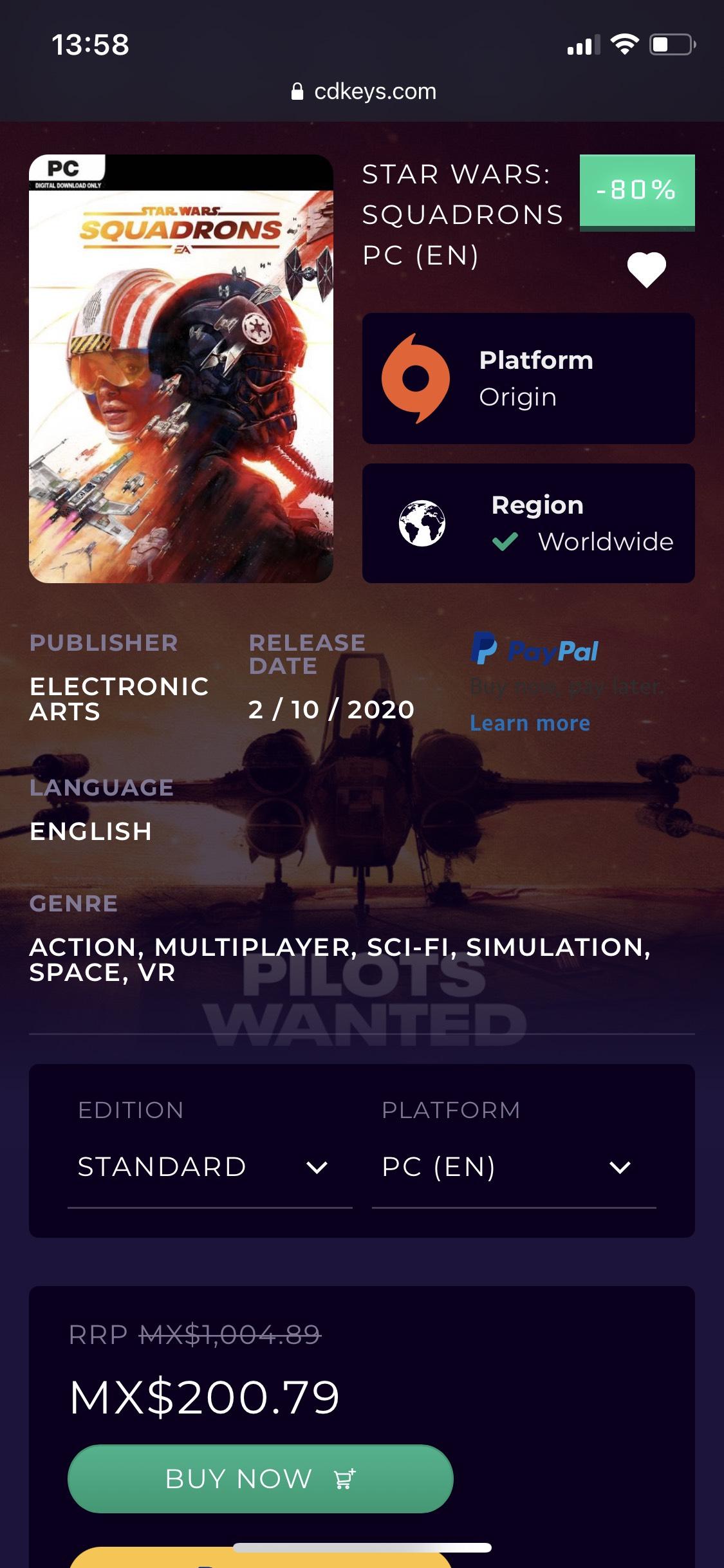 CDkeys, Star Wars: Squadrons -80%