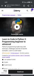 Udemy Learn to Code in Python 3: Programming beginner to advanced