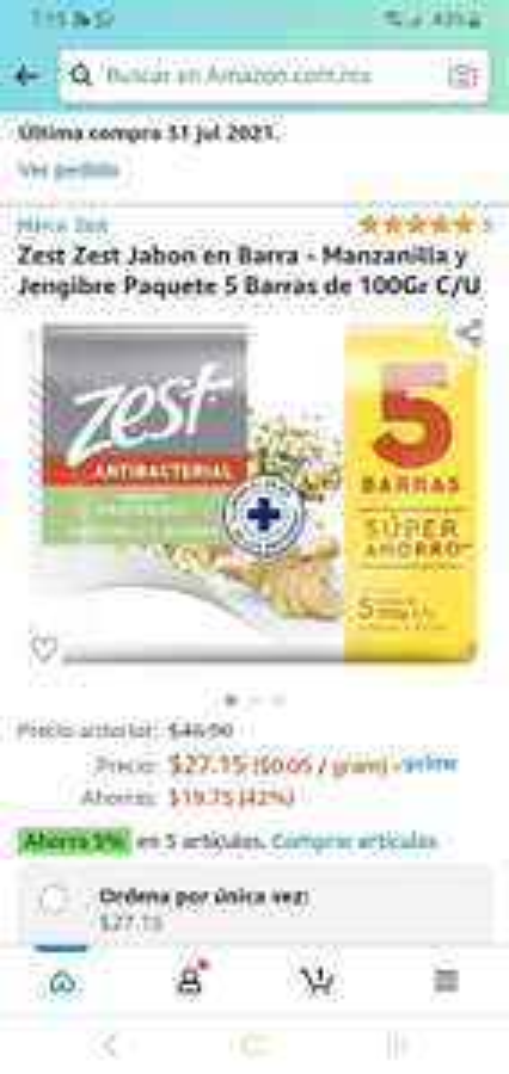 Amazon: 5 jabones zest a $5 cada uno