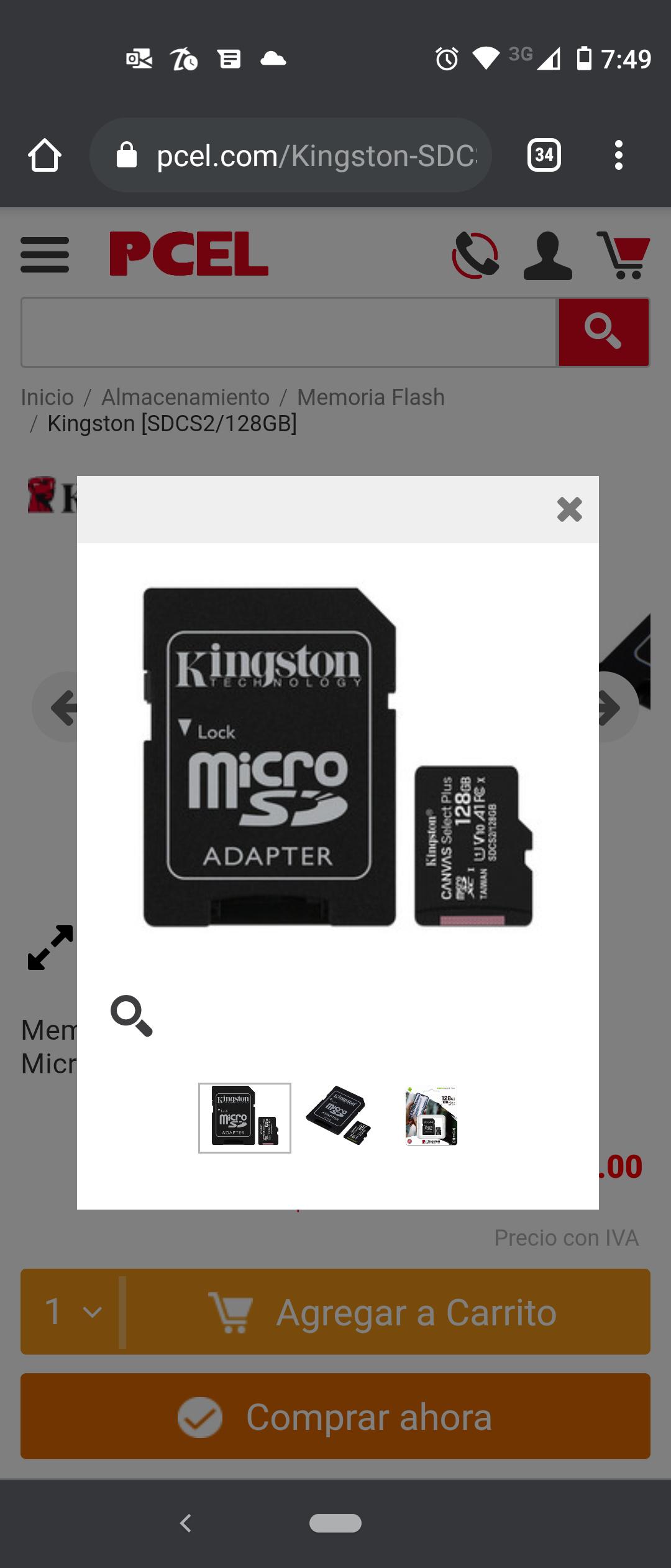 PCEL: Micro SD de 128gb Kingston U1 a