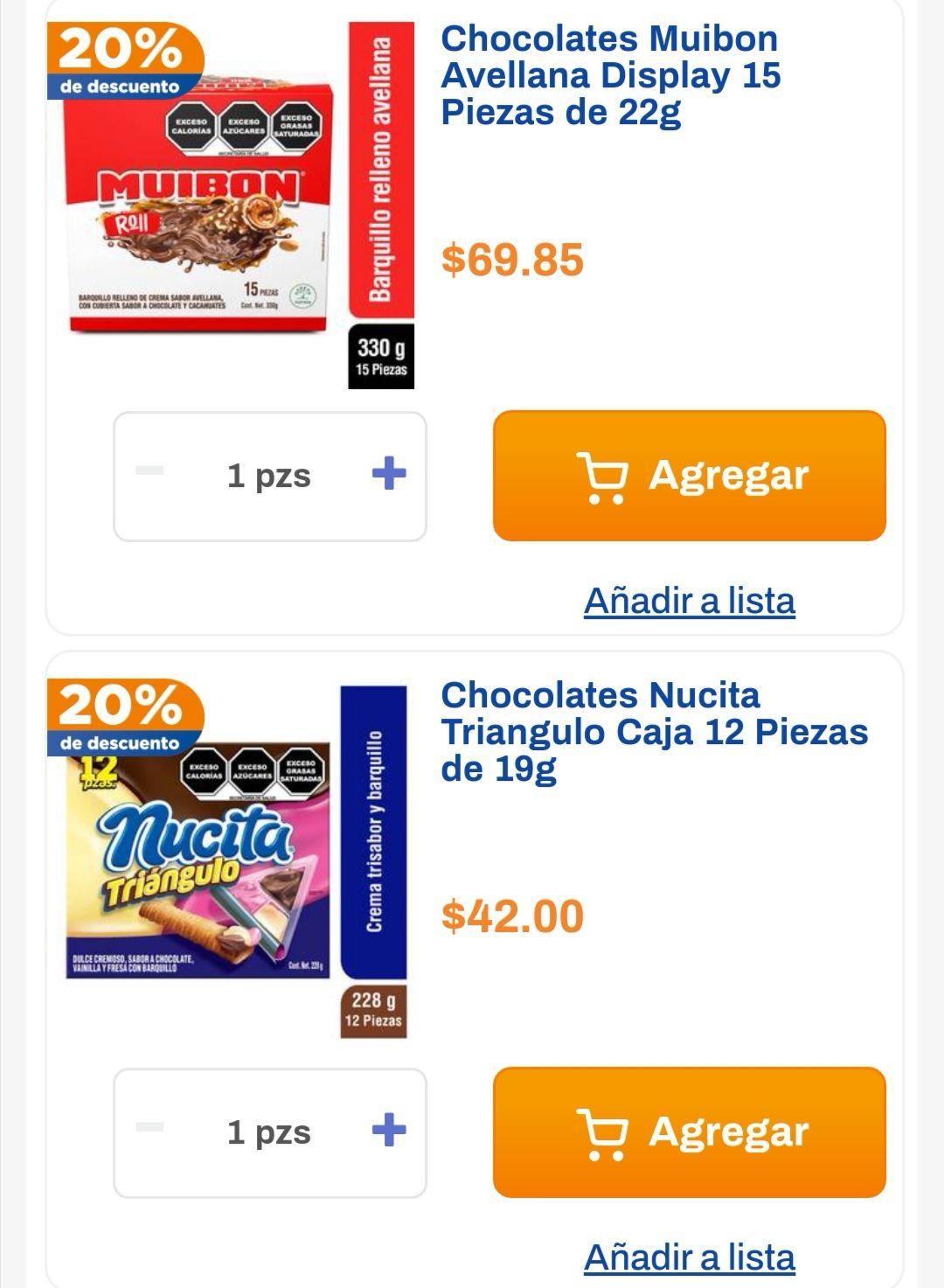 Chedraui: 20% de descuento en Chocolates Nucita Triángulo 228g y Chocolates Muibon Avellana 363g