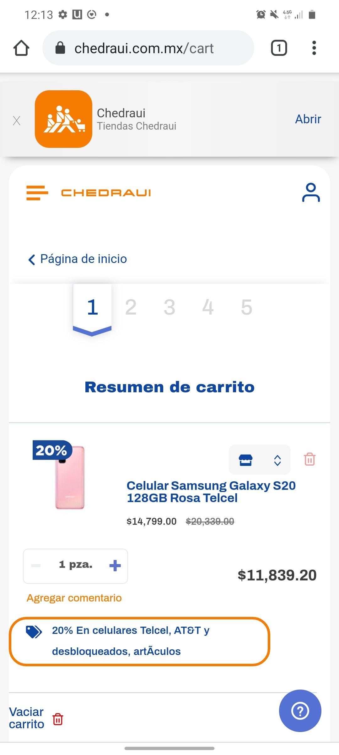 Chedraui. Samsung S20 color rosa