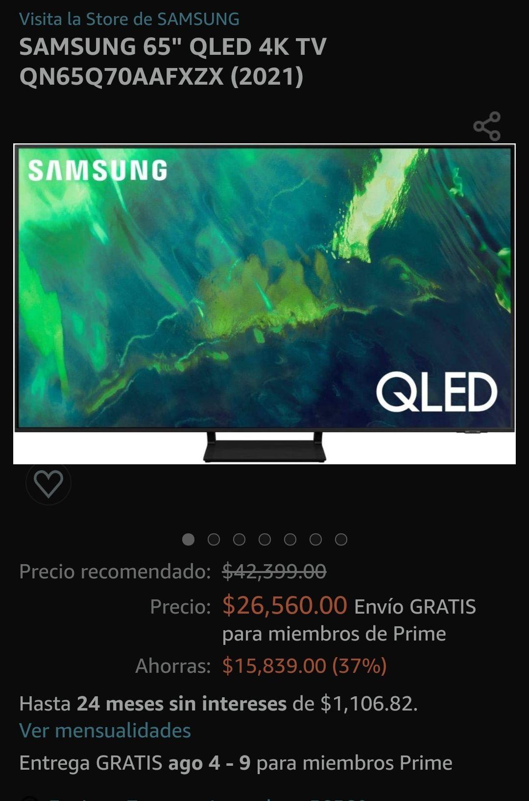 """Amazon: TV Samsung 65"""" QLED (2021) - 37% de descuento"""