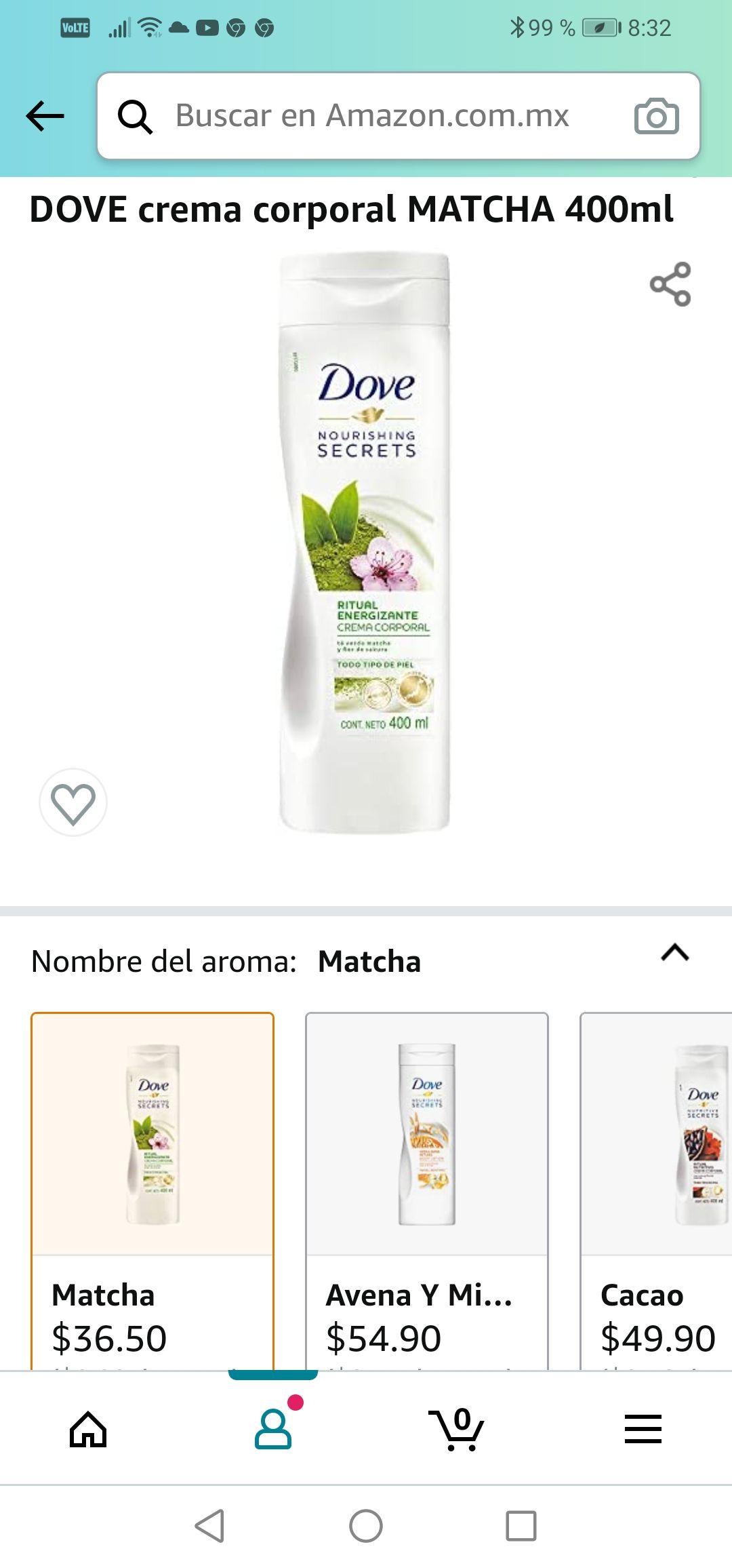 Amazon: DOVE crema corporal MATCHA 400ml