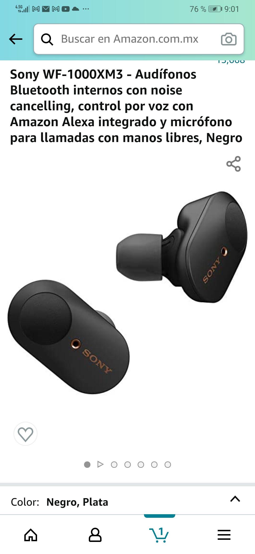Amazon: Sony WF-1000XM3 - Audífonos Bluetooth internos con noise cancelling, control por voz con Amazon Alexa, Manos libres Negro