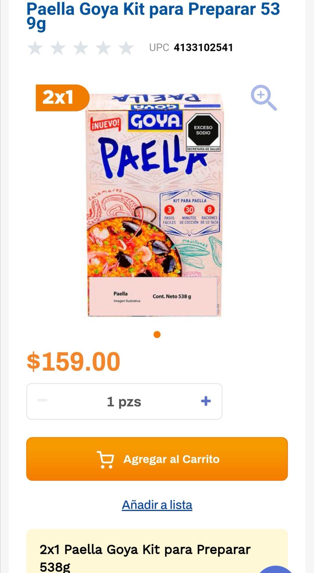 Chedraui: 2 x 1 en Paella Goya Kit para Preparar 538g