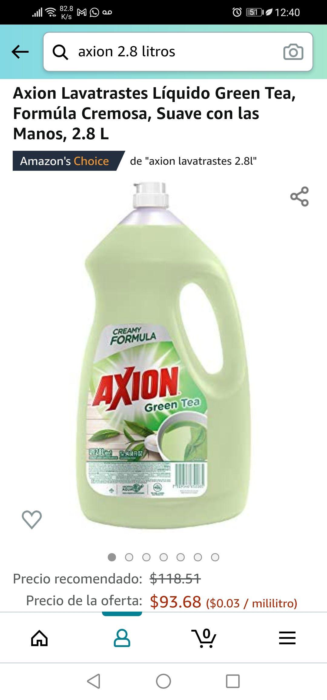 Amazon: Axion Lavatrastes Líquido Green Tea, Formúla Cremosa, Suave con las Manos, 2.8 L (