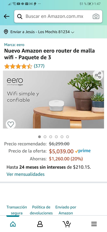 Amazon: eero router de malla wifi - Paquete de 3 (HSBC)