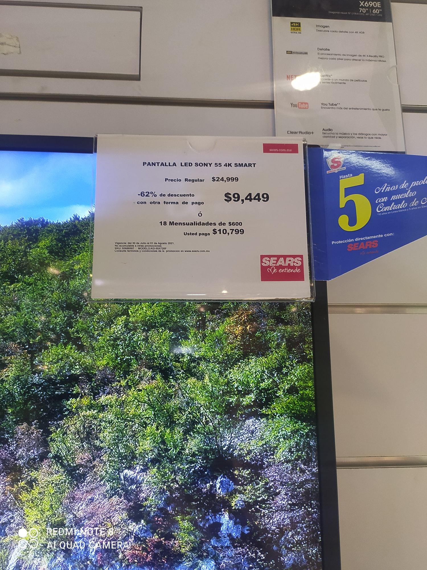"""Sears Pantalla Sony 55"""" Sony 4k Smart TV Parque Las Antenas"""