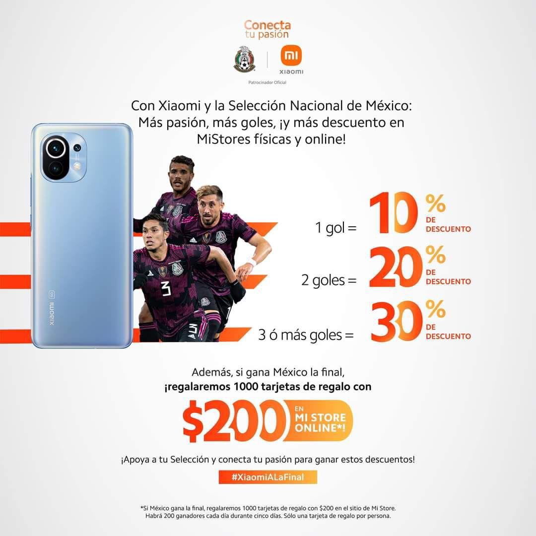 Descuentos en tiendas Xiaomi (físicas y online) por cada gol de la Selección Mexicana