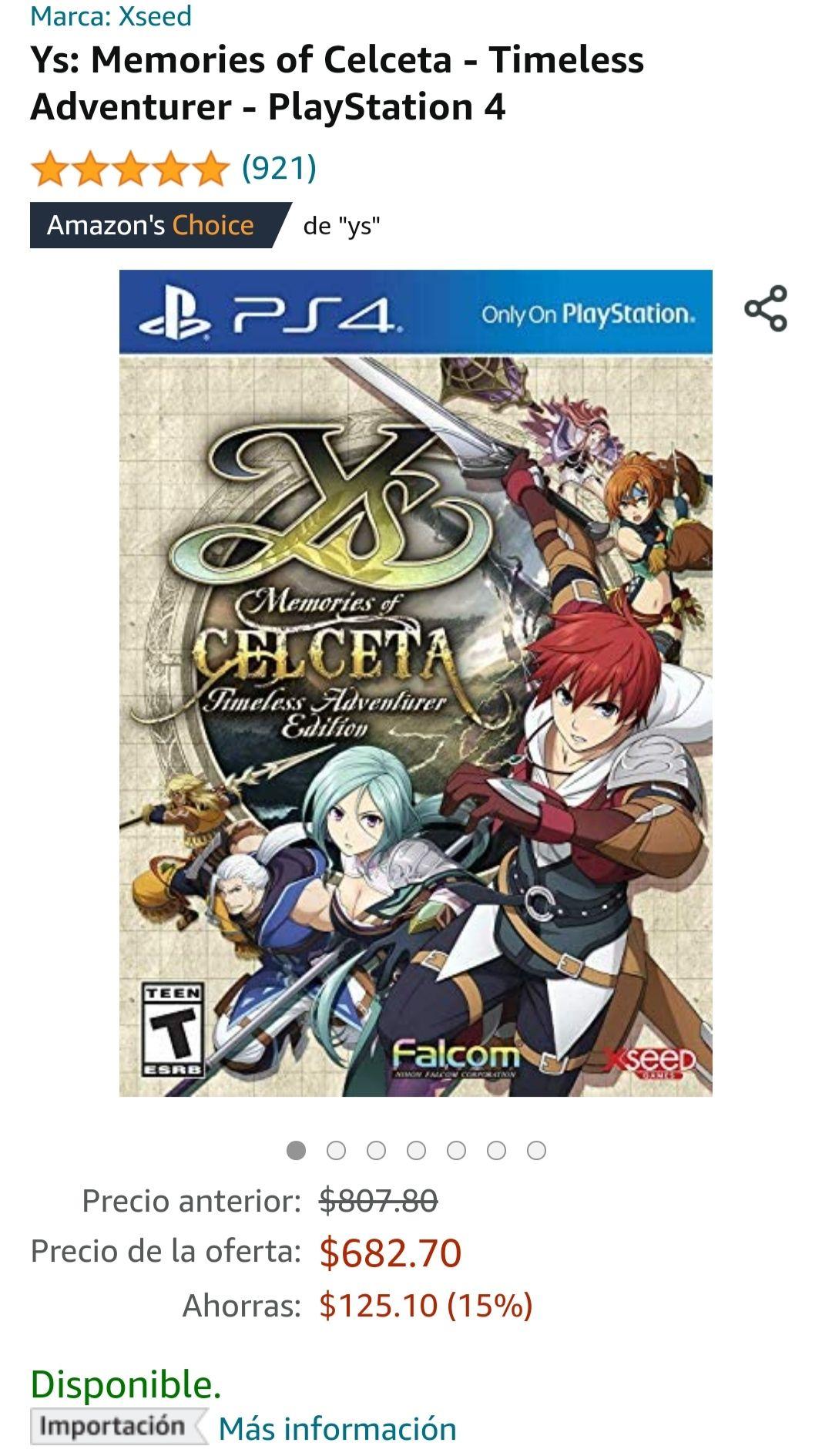 Amazon: Ys Memories of Celceta PS4