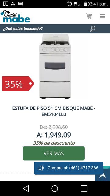 Outlet Mabe: varios modelos de Estufa, 51cm a $1,949.09, 76cm a $3,479 y empotrable de 80cm a $3,519