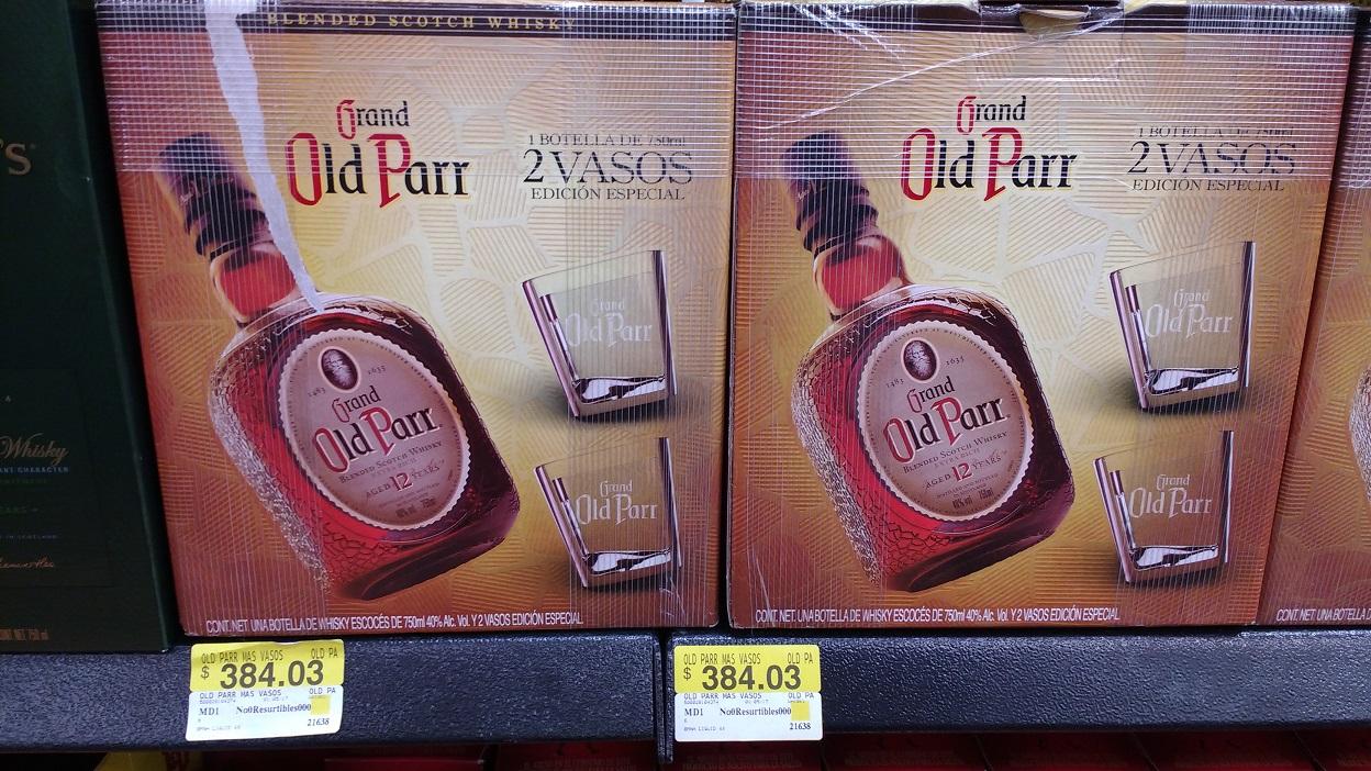 Walmart: Whisky Old Parr 750 ml 12 años + 2 vasos inclinados a $384.03