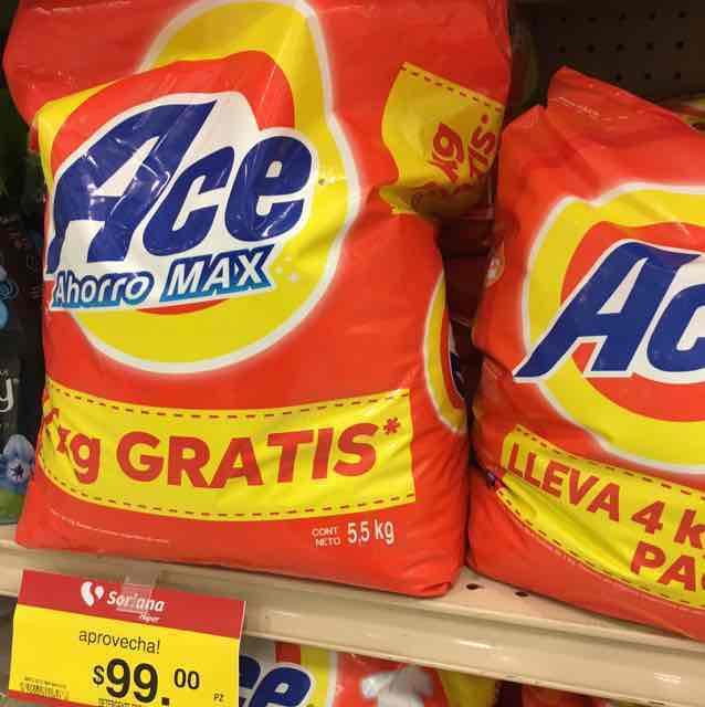 Soriana: Detergente ACE en polvo bolsa con 5.5 kg a $99 pesitos